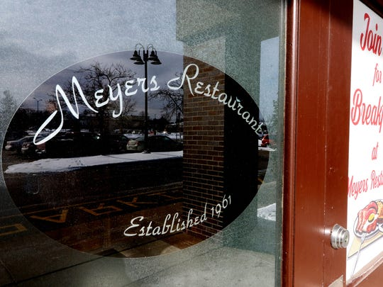 A glass main door panel marks the start of Meyer's Restaurant at 4260 S 76th St. in Greenfield that has changed ownership after 35 years.