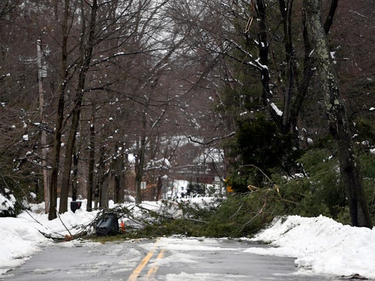 A fallen tree and electric wires lie across High Mountain Road in Franklin Lakes on Thursday, March 8, 2018. One resident said she and a neighbor put out cones and a trash can to stop people from driving over the live wires.