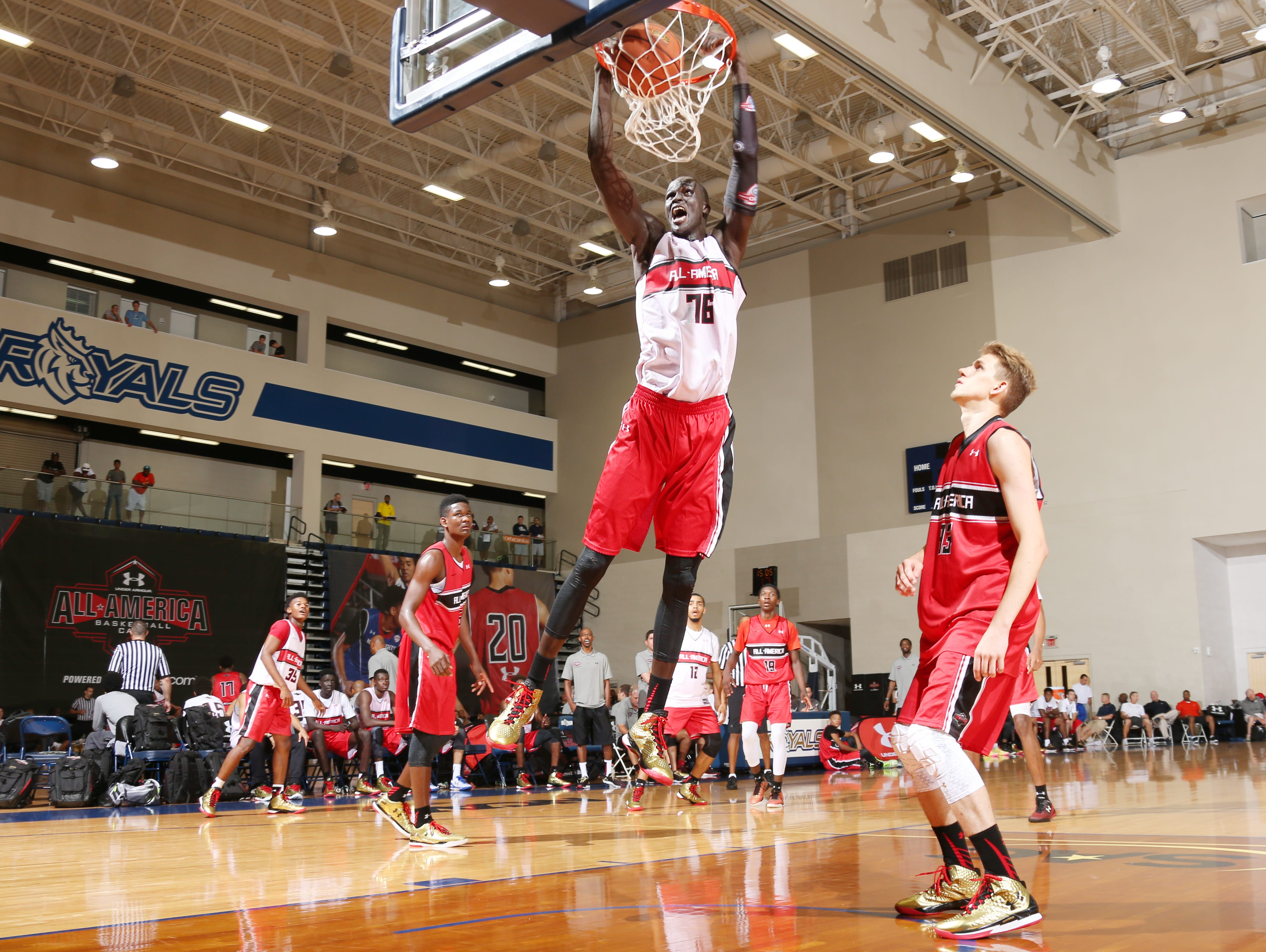 CHARLOTTE, NC - JULY 8: Thon Maker during the 2015 Under Armour All-America Basketball Camp on July 8, 2015 at Queens College in Charlotte, NC. (Photo by Ned Dishman/Under Armour)