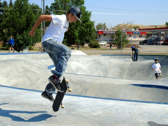 Dalton Kjersem tries tricks at the new Lewistown skate