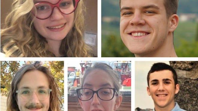 University of New Hampshire students, clockwise from top left, Corinne Prestia, Carl Hubbard, Nicholas Mraglia, Rose Correll and Dillon Mulhern.