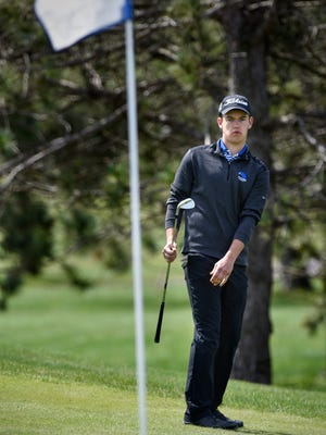 Foley senior golfer Preston Kopel concentrates on a short shot during competition Tuesday, May 2, at Pebble Creek Golf Club in Becker.
