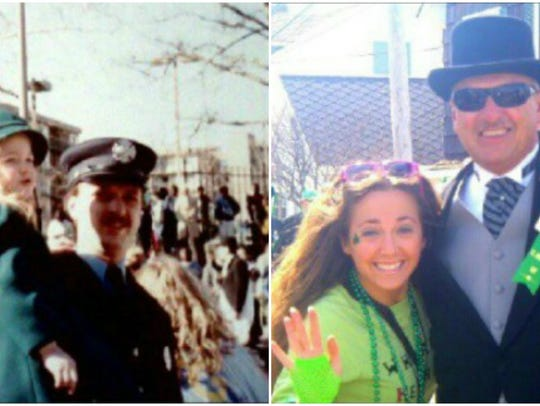 Alicia Cook with her dad in 1989 and 2013.