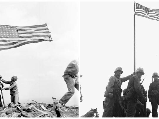 Differences in the flag raising photos are stirring questions for James Bradley about whether his father was in iconic World War II photo. In these two photos, he points out differences in the ammunition belts.