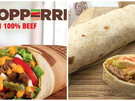Side-by-side comparison of Whopperritos.