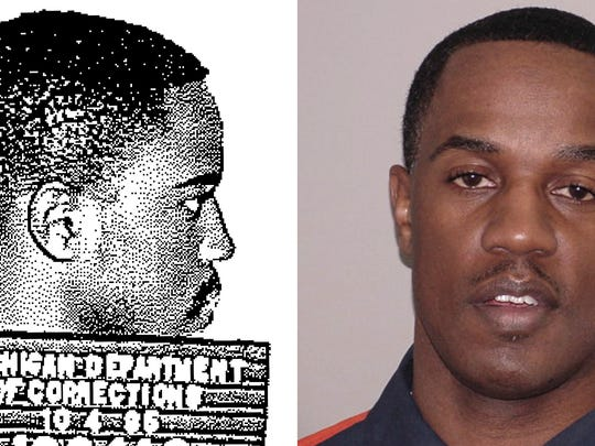 """This combination of photos made available by the Michigan Department of Corrections shows a younger Damion Lavoial Todd and in August 2013. At 48, Damion Todd knows family and friends his age who are already looking ahead toward retirement. A judge recently resentenced Todd, making him eligible for parole next year after more than 30 years behind bars. At 17, Todd, co-captain of his football team and hoping for a college scholarship, was sentenced to life with no parole for fatally shooting a girl while spraying a crowd with gunfire. He and his friends were trying to scare some guys who'd shot at them after a party, he says. Instead, he killed Melody Rucker, 16, and injured her friend. In prison, he's taken college courses and mentored younger inmates. Expressing shame and regret, he says, """"It doesn't excuse what I did, but I'm not that kind of person anymore.""""  (MDOC via AP)"""