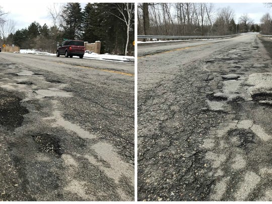The pothole-riddled Pontiac Trail in West Bloomfield.