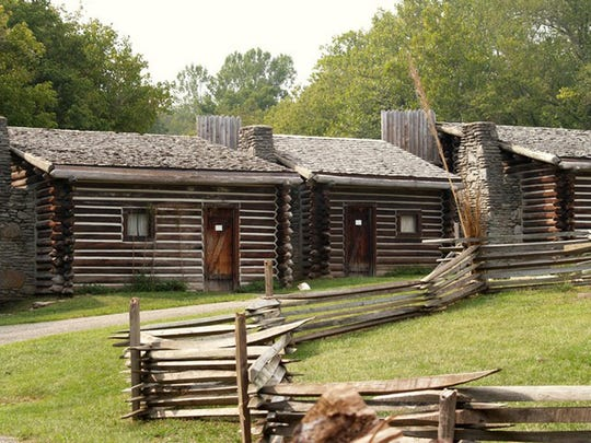 Part of the re-created pioneer fort at Fort Boonesborough State park