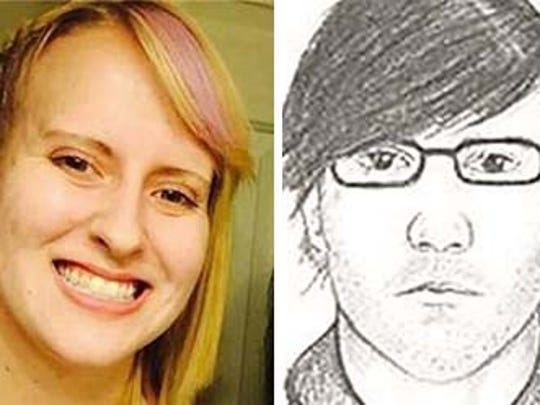 Chelsea Bruck was last seen at a Halloween party with an unknown male depicted in a sketch above.