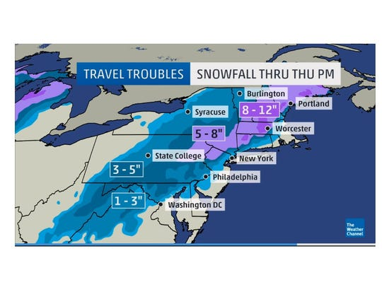 The Weather Channel's predicted totals from the winter