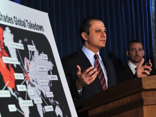Manhattan U.S. Attorney Preet Bharara at a news conference