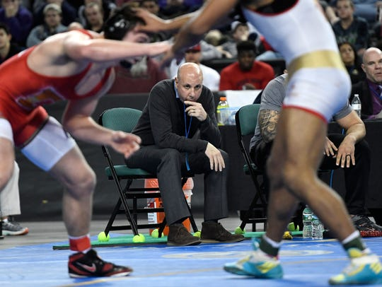 Bergen Catholic wrestling coach Dave Bell watches Josh