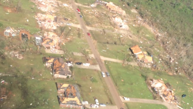 Aerial view of damage in Louisville