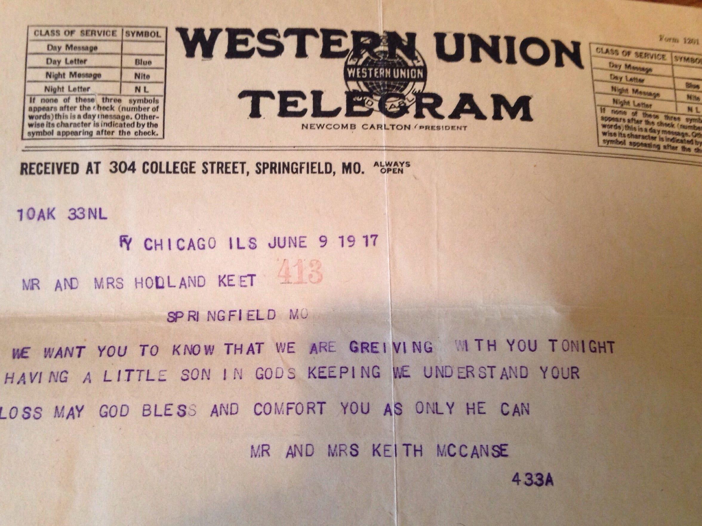 Jennefer Keet has a fistful of Western Union telegrams