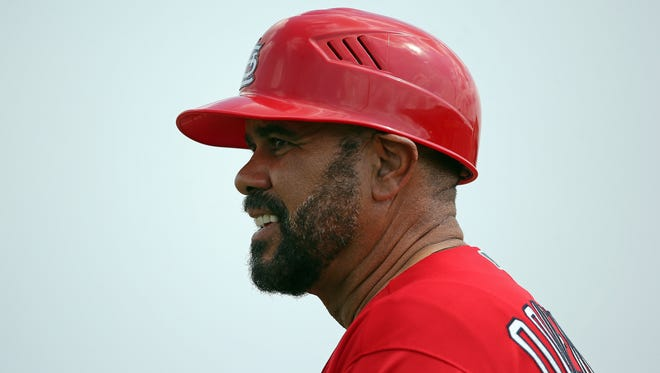 Jose Oquendo during a spring training game against the Miami Marlins at Roger Dean Stadium in Jupiter, Fla.