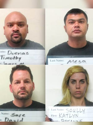 Clockwise from top left: Timothy James Duenas, Ryan Mesa, Katlyn Breanne Scully and David Sare are shown in this combined image.