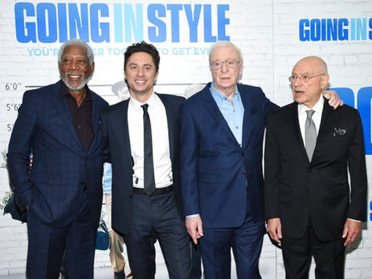 """Actor Morgan Freeman, left, director Zach Braff, Michael Caine and Alan Arkin pose together at the world premiere of """"Going in Style"""" at the SVA Theatre on Thursday, March 30, 2017, in New York."""