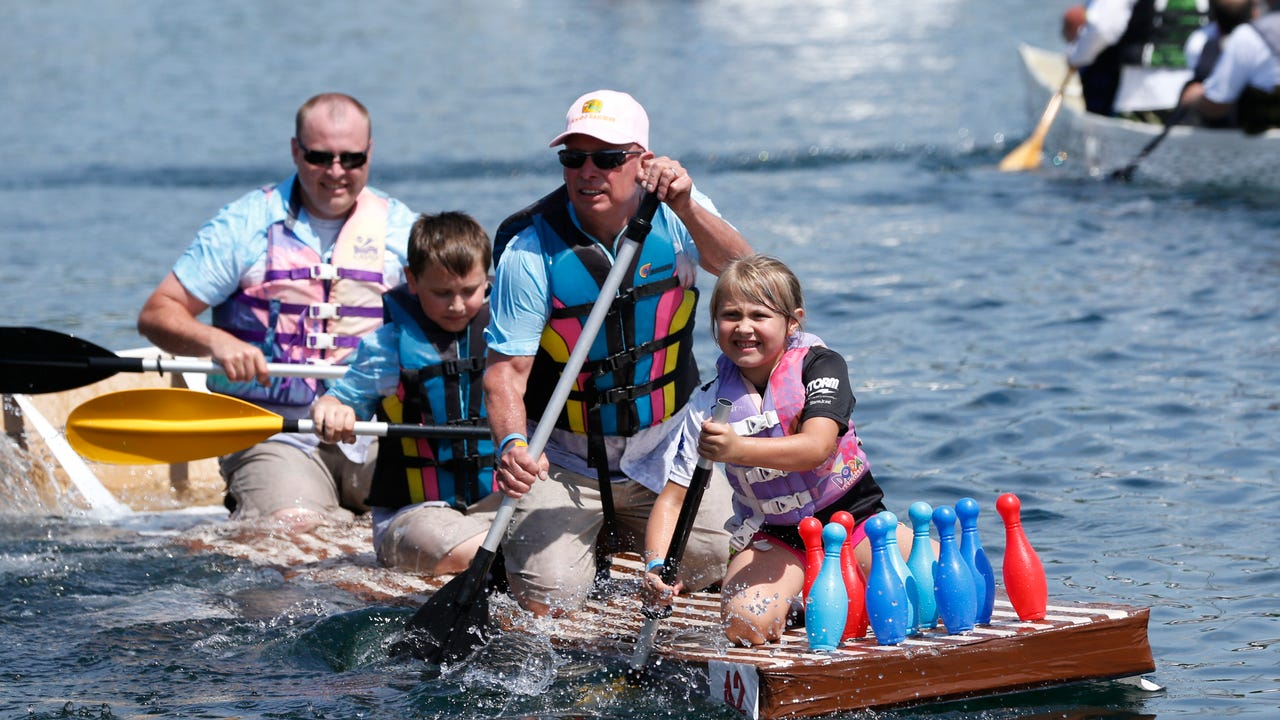 The annual Nearly Famous Cardboard Boat Regatta was held Saturday at the Seneca Lake harbor in Watkins Glen. Hundreds lined the harbor to watch 41 boats make their way through the course.