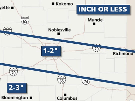 Snow forecast for Friday, Feb. 14, 2014.