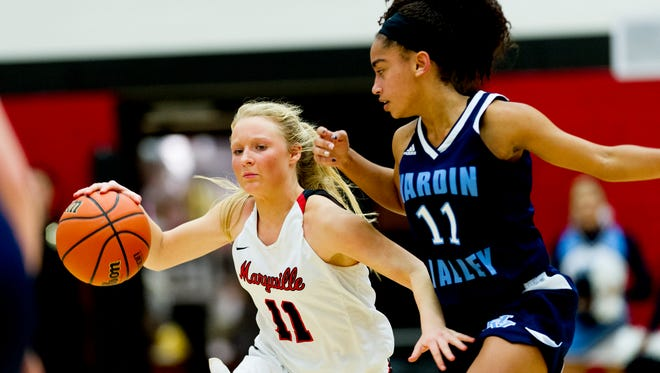 Maryville's Courtney Carruthers (11) dribbles down the court as Hardin Valley's Kiara Inman (11) defends during a game Jan. 11.
