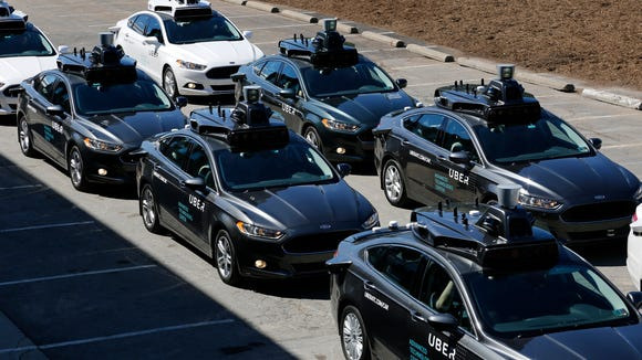 A group of self driving Uber vehicles are being tested