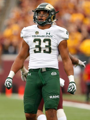 Linebacker Kevin Davis, shown looking up at the scoreboard during a Sept. 24 game at Minnesota, has been the leading tackler on CSU's football team for the past two seasons.