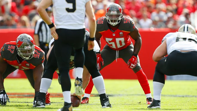 Tampa Bay Buccaneers linebacker Bruce Carter (50) lines up against the New Orleans Saints on Dec. 13, 2015, in Tampa.