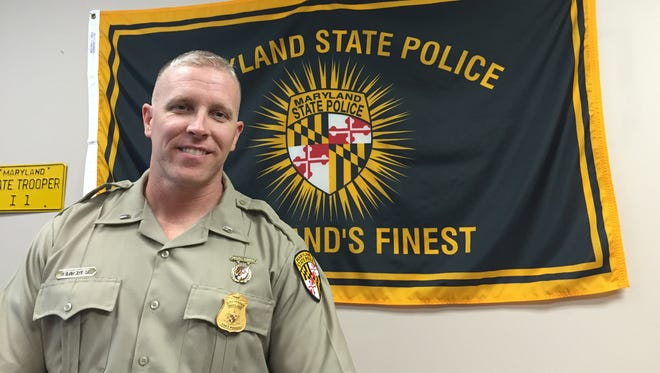 Lt. Ryan Bricker, commander of the Maryland State Police Salisbury barrack, is shown in his office at the barrack.