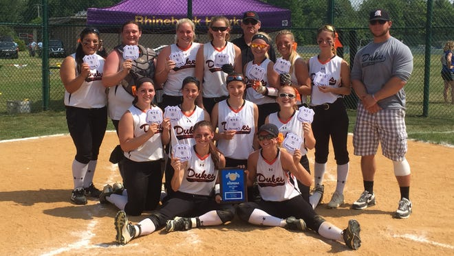 The Marlboro High School softball team poses after winning the Section 9 Class B title in Rhinebeck on Sunday.