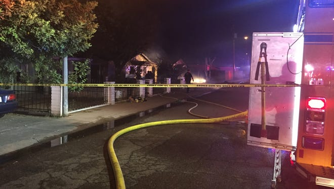 Nearly a dozen fire engines respond to a blaze at a house in Glendale on June 17, 2106. The resident was not home at the time.
