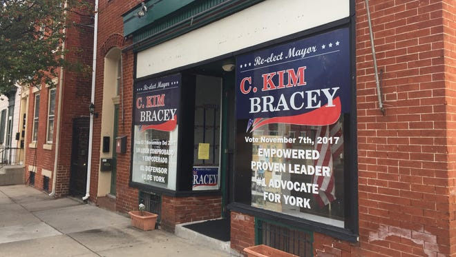 York Mayor Kim Bracey's campaign office on South Beaver Street was open Saturday. York City Police said the mayor was assaulted there by her son, Brandon Anderson, on Sept. 30.