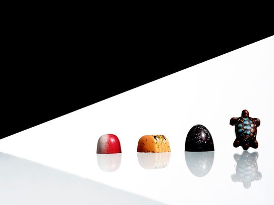 From left, the Amarena, Passion Fruit Carmel, Dark