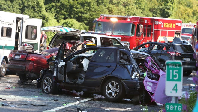 The scene of a fatal accident on the southbound side of the Taconic Parkway in Yorktown on Saturday, Aug. 15, 2015.