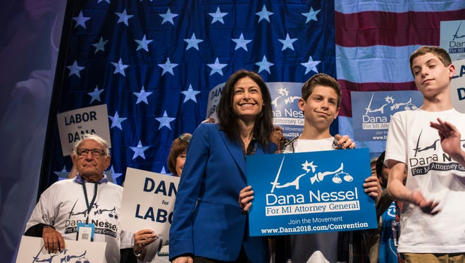 The state Democratic Party endorses Dana Nessel for Attorney General , at Cobo Center in Detroit, Sunday, April 15, 2018.
