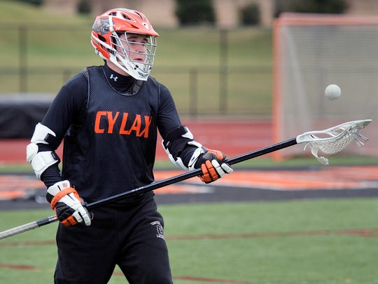 After having a brain tumor removed in 2014, Colton Keator has become a key role player for Central York lacrosse. Practice at York Central High School on Monday March 14, 2016.
