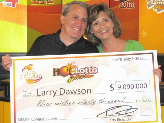 Larry Dawson and his wife claim the $9 million prize, worth $6 million in cash, from the Hot Lotto jackpot he won in 2010. Dawson sued the lottery, alleging a jackpot rigging scheme shortchanged him.