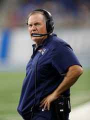 Patriots coach Bill Belichick looks on during the fourth quarter of an exhibition game against the Lions at Ford Field, Aug. 25, 2017.