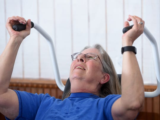 Becky Kerr works out at THE Women's Gym on Wednesday at 404 S. Park Ave. in Aztec.