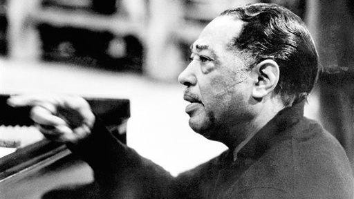 Duke Ellington leads his orchestra in a rehearsal on Dec. 2, 1966, in England. Ellington said he used his energy to create his art.