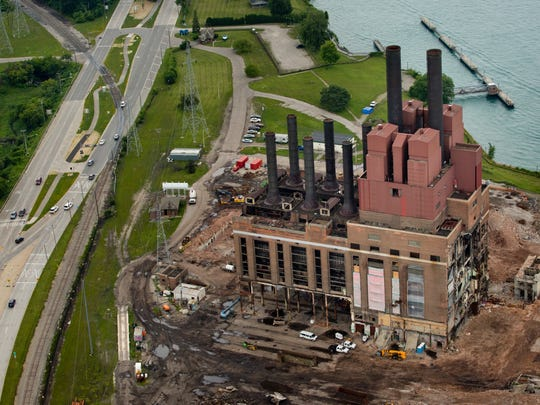 An aerial view of the former DTE plant looking North on Gratiot Boulevard July 18, 2015 in Marysville.