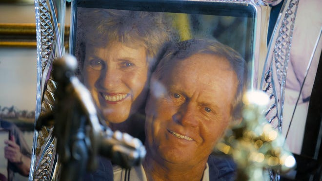 A framed photo of Barbara and Jack Nicklaus in his office at his home in Lost Tree Village, Monday, Jan. 13, 2020.