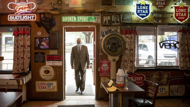 U.S. Rep. Roger Williams arrives Thursday at The Broken Spoke for a news conference to talk about the Save Our Stages Act.