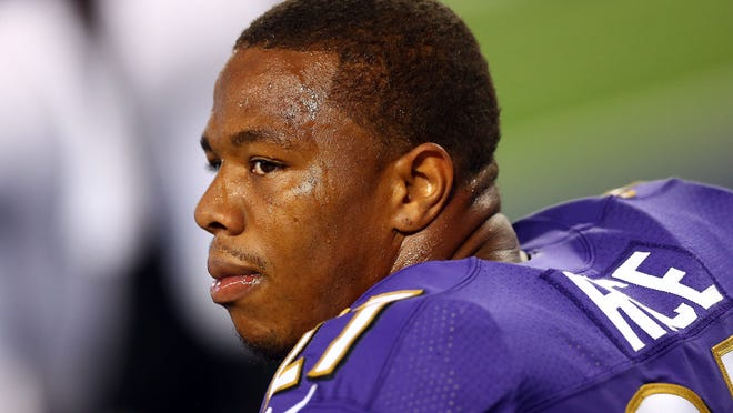 Ray Rice of the Baltimore Ravens sits on the bench during an Aug. 16 preseason match against the Dallas Cowboys at AT&T Stadium in Arlington, Texas.