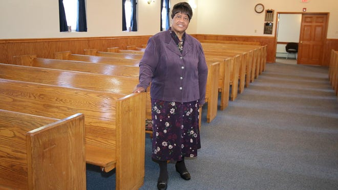 Dorothy McCoy, 74, at her church in Monticello. She goes there almost every day.