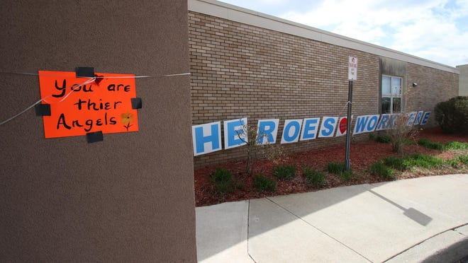 Several decorationswere placed around the main entrance before a hero's parade at Valley View Center-NursingCare in Goshen on April 16.