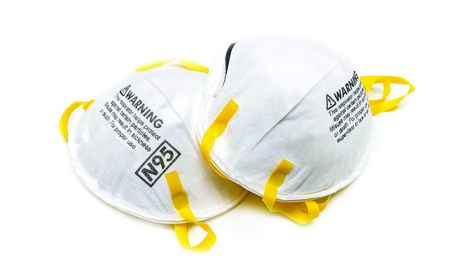 Protective N95 masks, which are currently scarce in supply mid coronavirus.