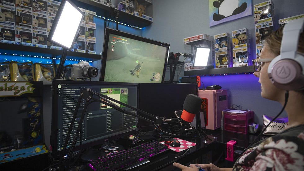 Kayla Carbajal, a teacher and Twitch streamer, plays Nintendo Switch from the gaming room in her home in Jarrell. The pandemic has lured her into gaming, she said, something she previously thought was a waste of time.