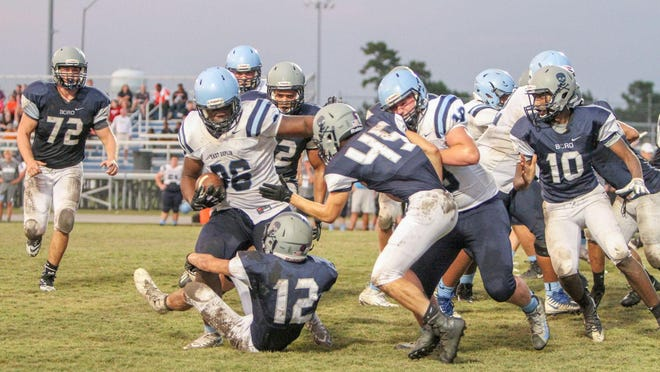East Duplin plays Swansboro during the 2018 Marine Federal Credit Union Football Jamboree. This year's jamboree has been canceled because of COVID-19 concerns.