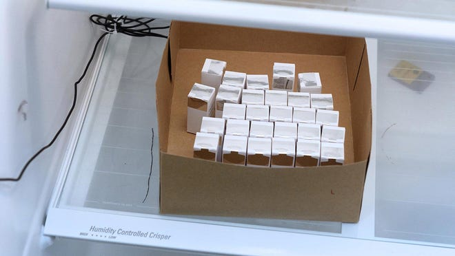 Boxes containing vials of Moderna's COVID-19 vaccine, known as mRNA-1273, are refrigerated at the Clinical Research Institute of Southern Oregon in Medford.