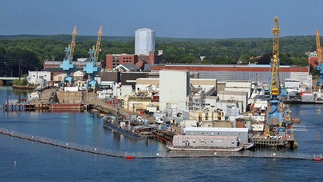 The Portsmouth Naval Shipyard as seen from the top of the Memorial Bridge.